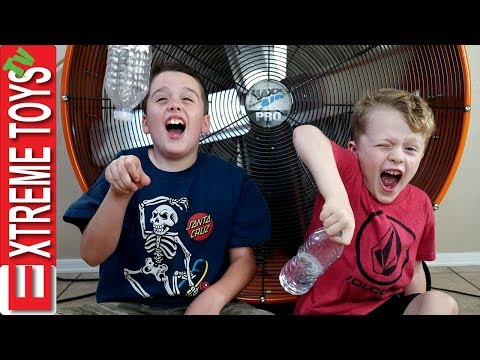 Extreme Toys Short: Epic Bottle Flip Challenge! Ethan Vs. Cole, and the Giant Hurricane Fan!