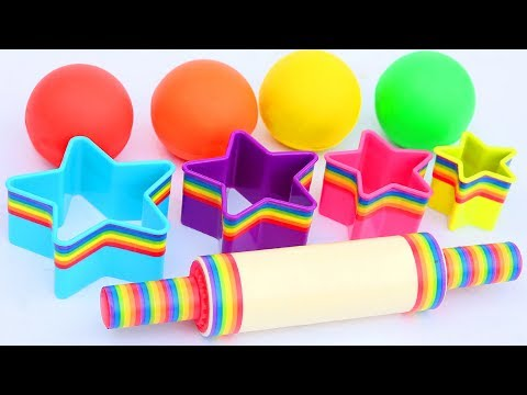 Play Doh Super Rainbow Stars Cutters Rainbow Roller Pin Learn Colors Mighty Toys