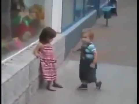 Little Boy Gets Rejected, Doesn't Understand Rejection And Gets Pushed Over By Little Girl.