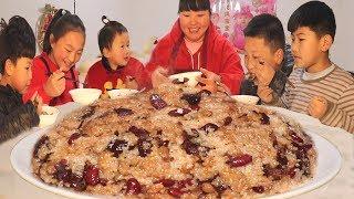 """【陕北霞姐】5斤江米,教你陕北年味小吃""""甑糕"""",红枣加红豆,孩子们抢着吃!"""