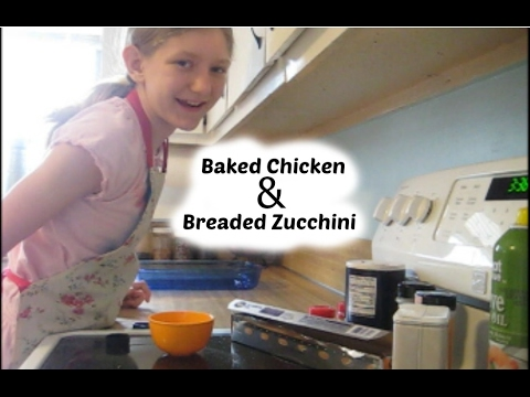 Baked chicken and breaded zucchini