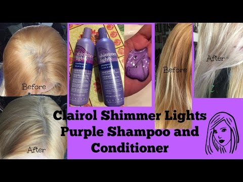 Clairol Shimmer Lights Purple Shampoo and Conditioner: Before and after