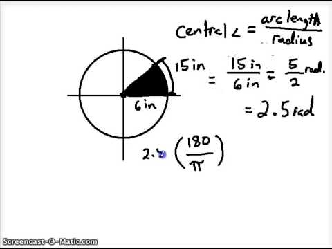 central angle measurement, arc length, and area of a sector