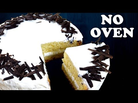 Vanilla cake without Oven | Stabilized Whipped Cream Frosting | Eggless Sponge Cake | Yummylicious