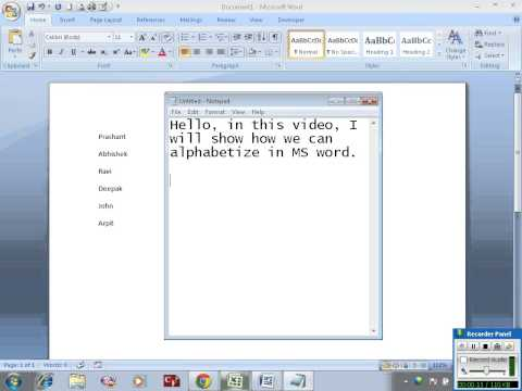 Alphabetize a list in MS Word