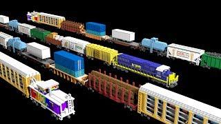 3D Freight Train Cars - Railway Vehicles - Trains - The Kids