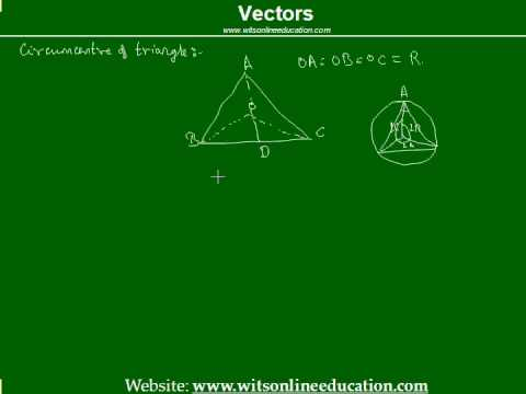 circumcentre of a triangle by vector methods