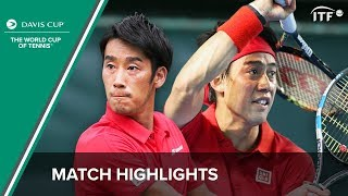 Nishikori/Sugita (Japan) vs Smirnov/Stakhovsky (Ukraine) | Davis Cup Highlights | ITF