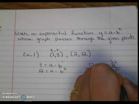 Writing an exponential function given two points on the graph