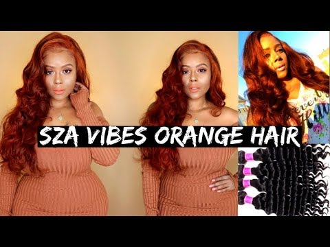 DIY ORANGE RED SZA RIHANNA INSPIRED HAIR | Brazilian Hair Loose Deep Review RECOOL Hair