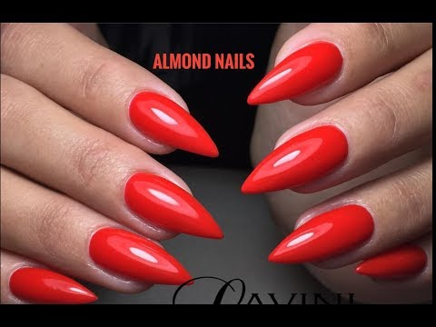 Almond Shape Red Nails Step by Step