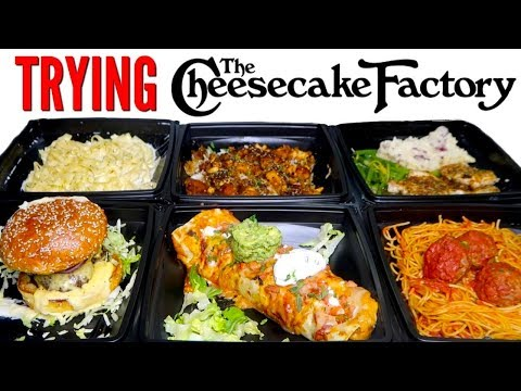TRYING CHEESECAKE FACTORY DINNERS! - Mac N' Cheese Burger, Burrito, & MORE Restaurant Taste Test!