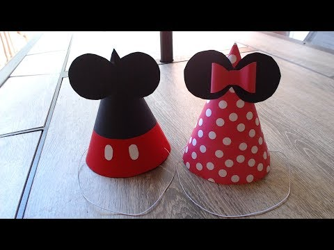 How to make birthday cone hat - Mickey and Minnie hats