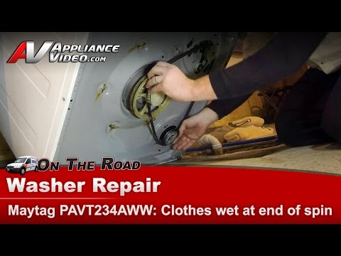 Maytag & Whirlpool Washer  clothes still wet at end of cycle - Belt replacement PAVT234AWW DR