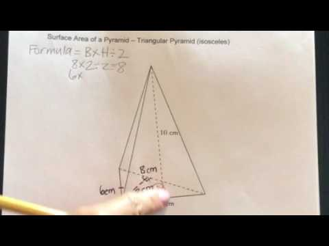 How to find the Surface Area of a Triangular Pyramid-Isosceles Triangle