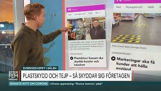 Butiksägare sätter upp plastskydd mot corona - Malou Efter tio (TV4)