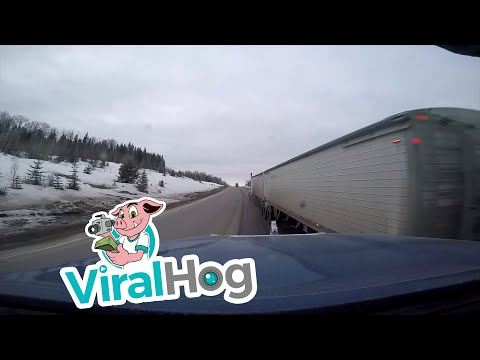 Semi Pulls Illegal Pass || ViralHog
