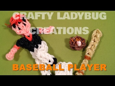 Rainbow Loom Bands BASEBALL PLAYER ACTION FIGURE CHARM How to Make Crafty Ladybug