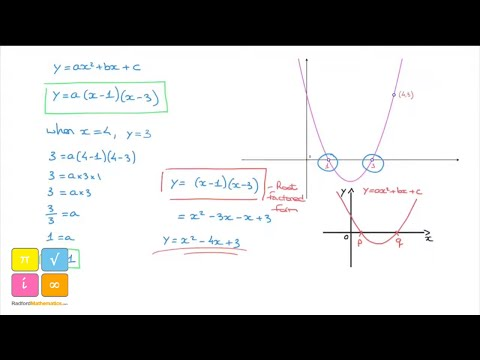 How to find the Equation of a Parabola using Root Factoring - Tutorial 2