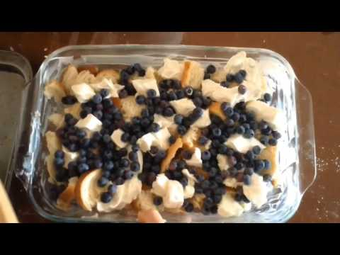 Blueberry cream cheese bread pudding