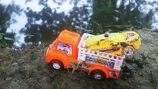 Police Car Stuck in the Mud and Carrier Truck Rescue the Car from a Hole & Car Wash in the River !