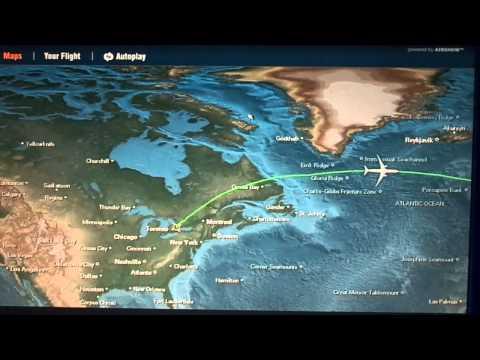 Toronto-to-London (LHR) flight: takeoff, in-flight route map, landing 2012-12-27