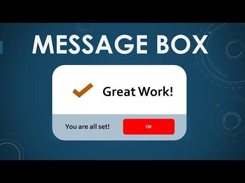 VBA to show Message Dailog Box