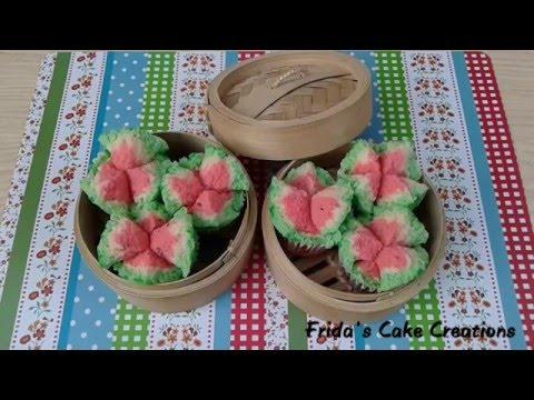 Watermelon Steamed Cupcakes Recipe | Resep Bolu Kukus Semangka Mekar Tanpa Emulsifier