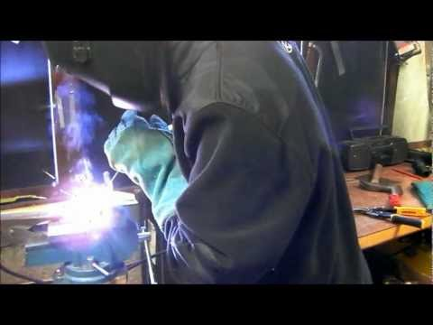 Stick welding thin sheet steel. lap joint