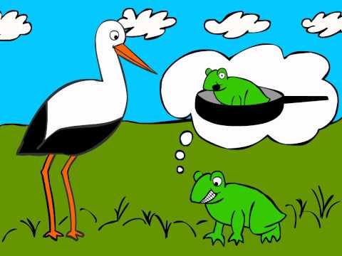 German Cartoons: Storch trifft Breitmaulfrosch (2) - Learn German easily