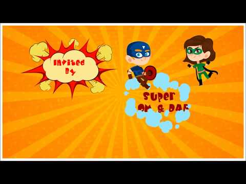 Kids Birthday Video Invitation - Super Hero Themed Party Invite