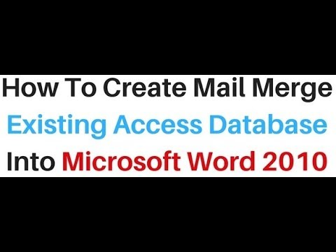 Mail Merge Access existing Data table Into MS word 2010 Document