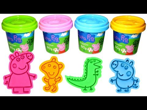 Peppa Pig & George Pig Play Doh Molds with Peppa Teddy George Mr Dinosaur Play Dough Fun for Kids