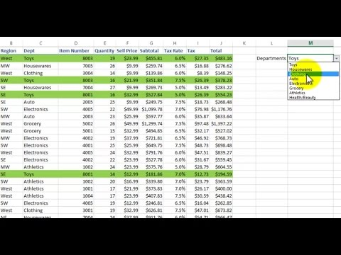 Excel Highlight rows and records