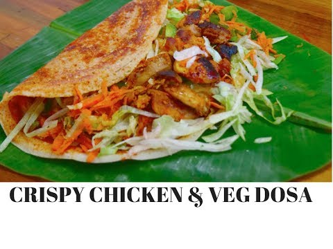 Crispy Chicken & Veg Dosa on non-stick pan |Perfect Dosa Secrets | Complete Meal - Curry for theSoul