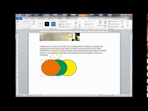 Editing and Formatting shapes in MS Word 2010 - 2013
