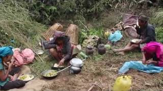 Cooking pumpkin recipe in traditional ll village technology