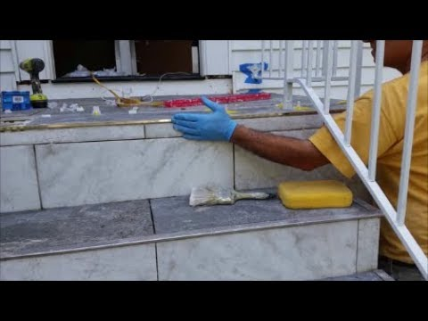 How To Install Tile On An Outdoor Stairs Patio   - Part 2 - Install Tiles On Outside Corner.