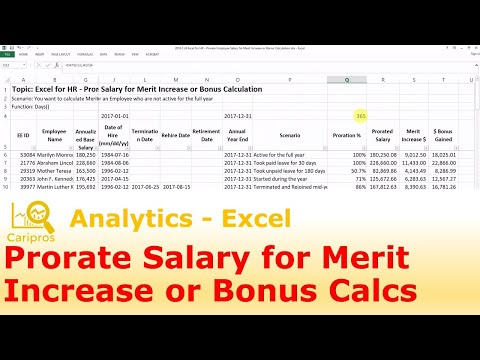 Excel for HR - Prorate Employee Salary for Merit Increase or Bonus Calculation