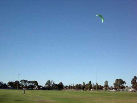 My first time with my new HQ Hydra 3.5 Trainer kite in light 5kms wind