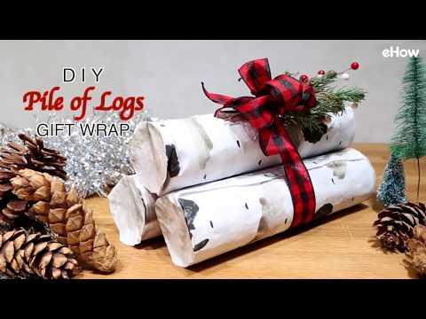 DIY Pile of Birch Logs Gift Wrap