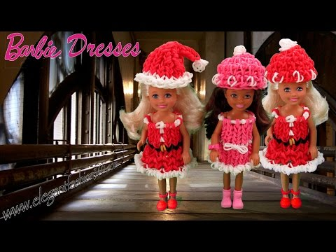 Rainbow Loom Barbie Dress/Christmas/Holiday Wearable - How to Loom Bands Tutorial