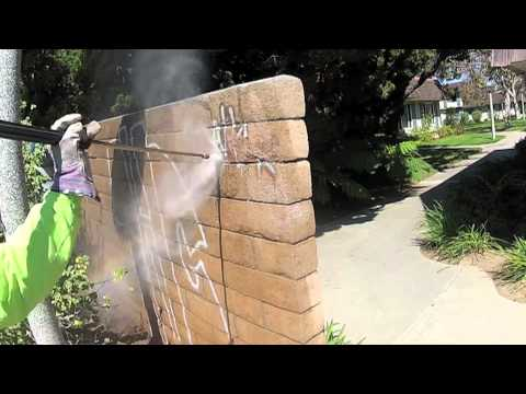 CH Graffiti Removal Example Removing Graffiti from Brick Wall Patented Aerosol Spray Product