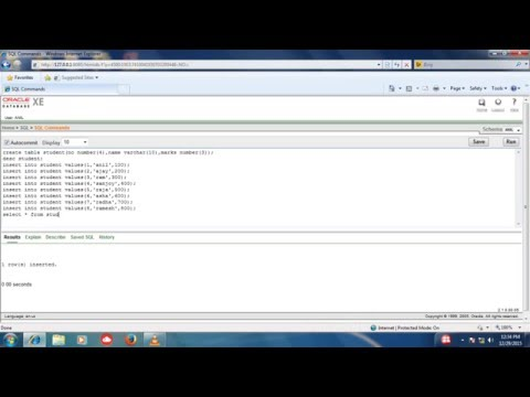 how to create table, alter, update and insert values in oracle database 10g EXE