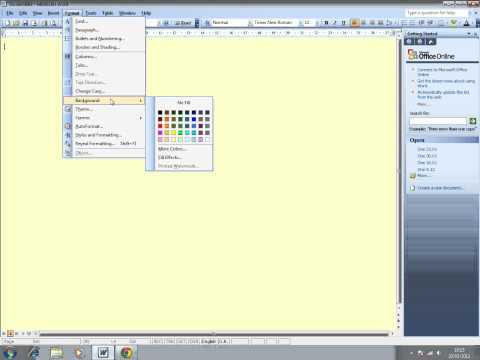 How to change the background colour of a document in Word 2003.
