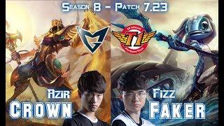 SSG Crown AZIR vs SKT T1 Faker FIZZ Mid - Patch 7.23 KR Ranked