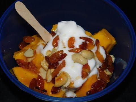 Simple Mango ice cream dry fruit salad