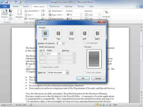 Lay Out Text in a Newsletter-Style Document - Word 2010