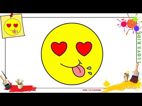 How to draw a heart eyes emoji EASY step by step for kids, beginners, children 3