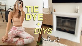 my first attempt at TIE DYE! + DIY fireplace makeover!